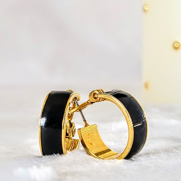 Monet Black & Gold Hoop Earrings Vintage